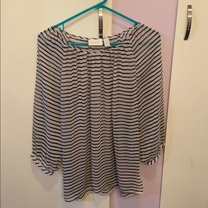 Chicos size 2 blouse navy and white striped